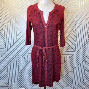 Anthropologie TINY Red Floral Embroidered Dress